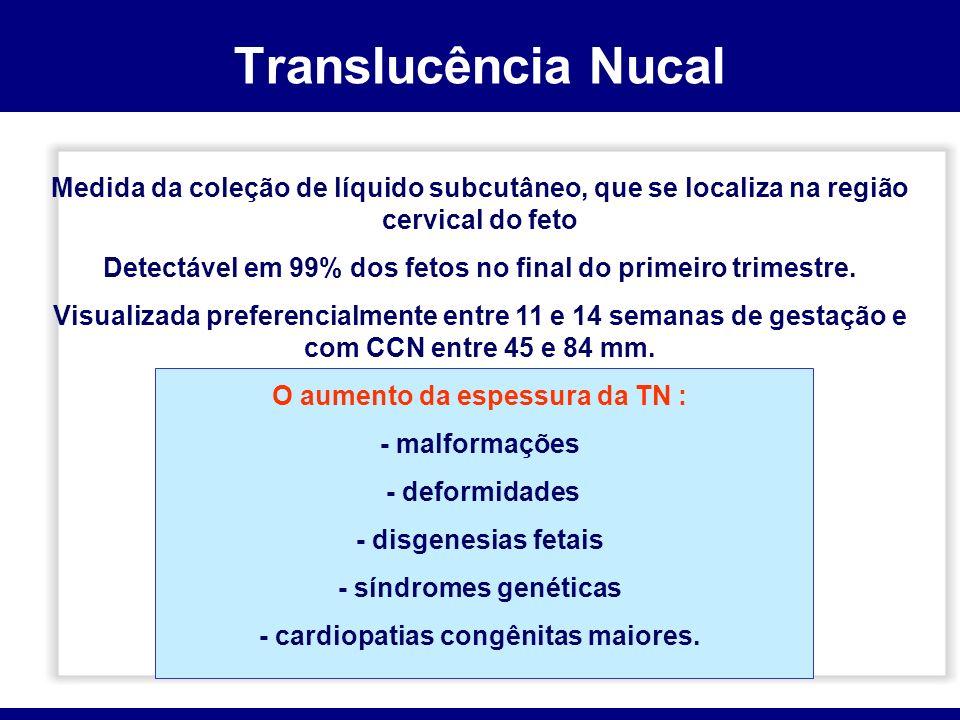 Translucência Nucal Medida da coleção de líquido subcutâneo, que se localiza na região cervical do feto.