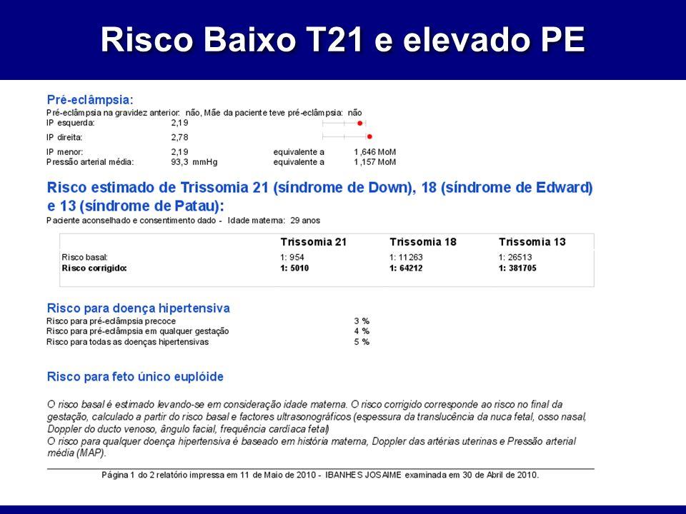 Risco Baixo T21 e elevado PE