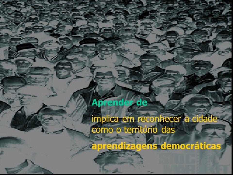 Aprender de implica em reconhecer a cidade como o território das aprendizagens democráticas