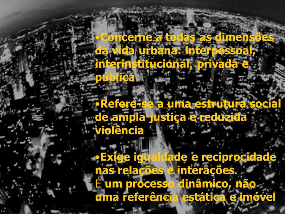 Concerne a todas as dimensões da vida urbana: interpessoal, interinstitucional, privada e pública