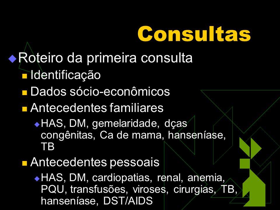Consultas Roteiro da primeira consulta Identificação
