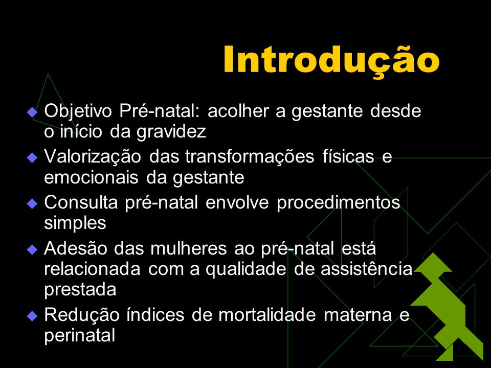 Introdução Objetivo Pré-natal: acolher a gestante desde o início da gravidez. Valorização das transformações físicas e emocionais da gestante.