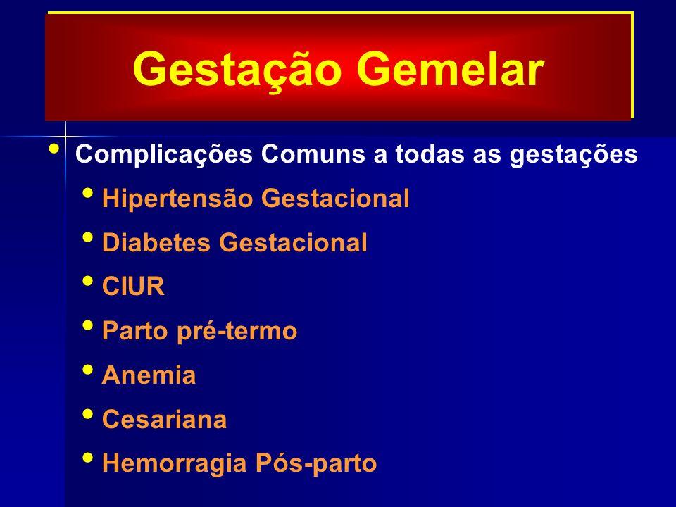 Gestação Gemelar Complicações Comuns a todas as gestações