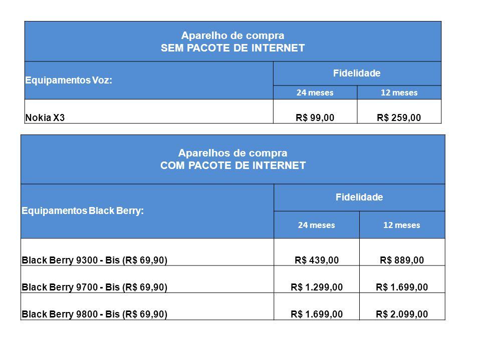 Aparelho de compra SEM PACOTE DE INTERNET