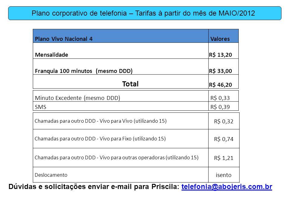 Plano corporativo de telefonia – Tarifas à partir do mês de MAIO/2012