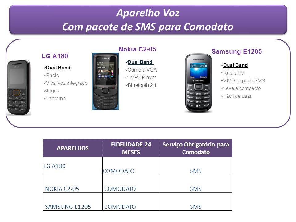 Com pacote de SMS para Comodato Serviço Obrigatório para Comodato