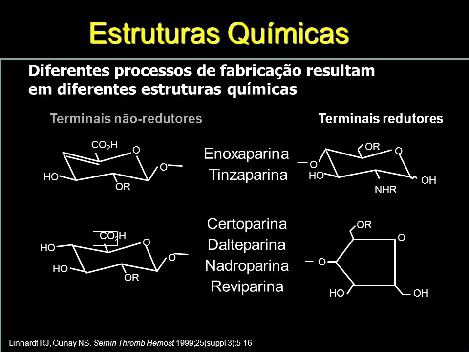 Estruturas Químicas Diferentes processos de fabricação resultam em diferentes estruturas químicas. Terminais não-redutores.
