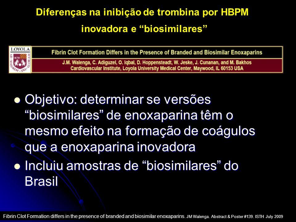 Diferenças na inibição de trombina por HBPM inovadora e biosimilares