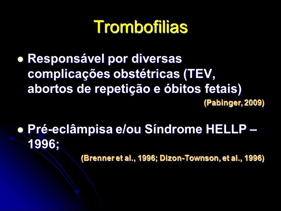 Trombofilias Responsável por diversas complicações obstétricas (TEV, abortos de repetição e óbitos fetais)