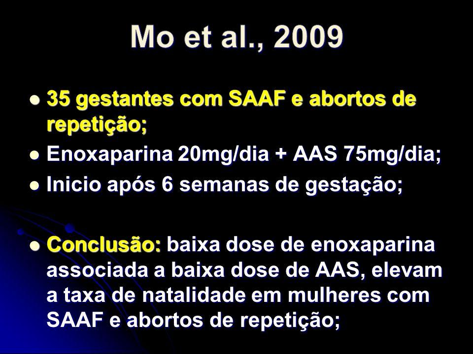 Mo et al., 2009 35 gestantes com SAAF e abortos de repetição;