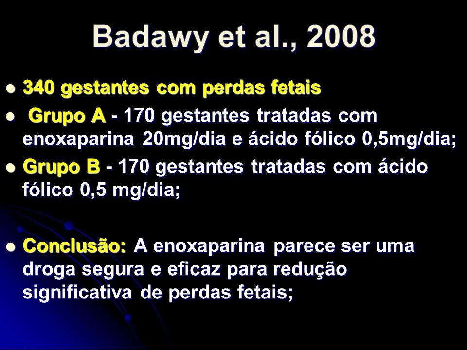 Badawy et al., 2008 340 gestantes com perdas fetais