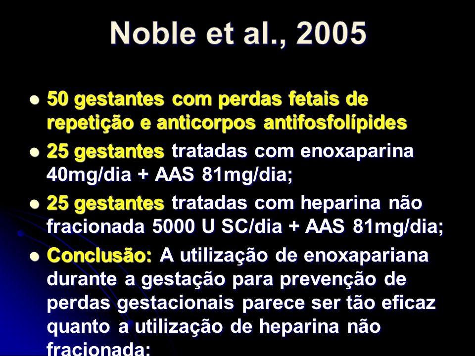 Noble et al., 2005 50 gestantes com perdas fetais de repetição e anticorpos antifosfolípides.