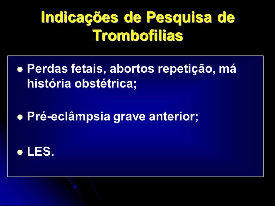 Indicações de Pesquisa de Trombofilias