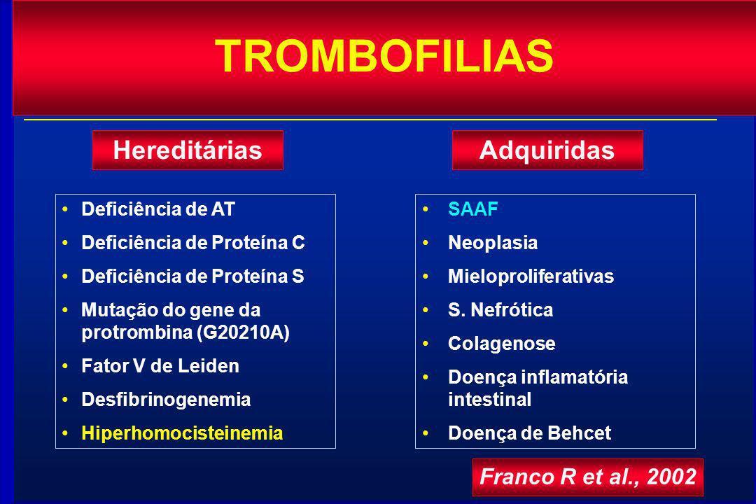 TROMBOFILIAS Hereditárias Adquiridas Franco R et al., 2002