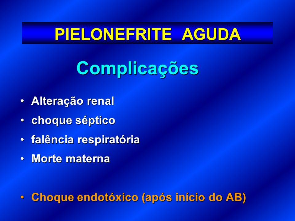 Complicações PIELONEFRITE AGUDA Alteração renal choque séptico