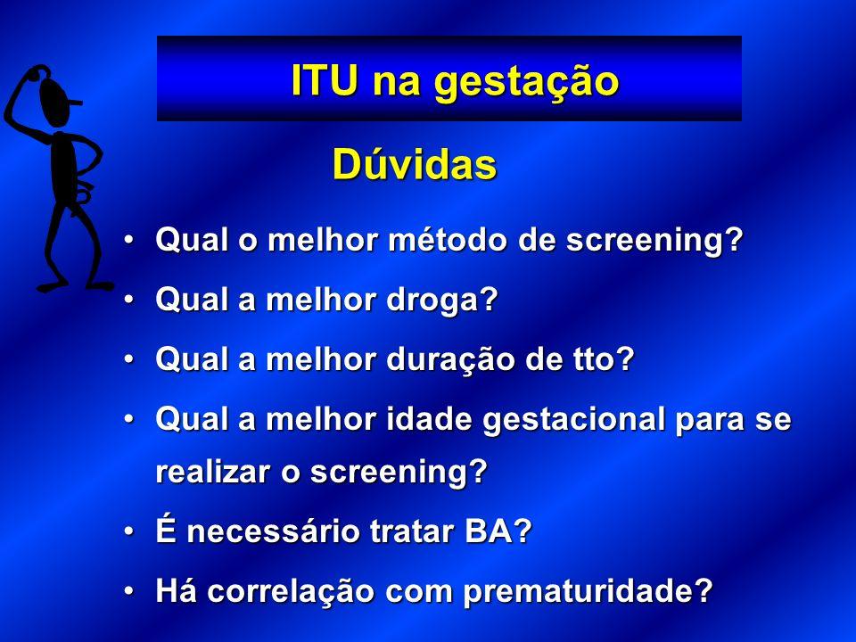ITU na gestação Dúvidas Qual o melhor método de screening