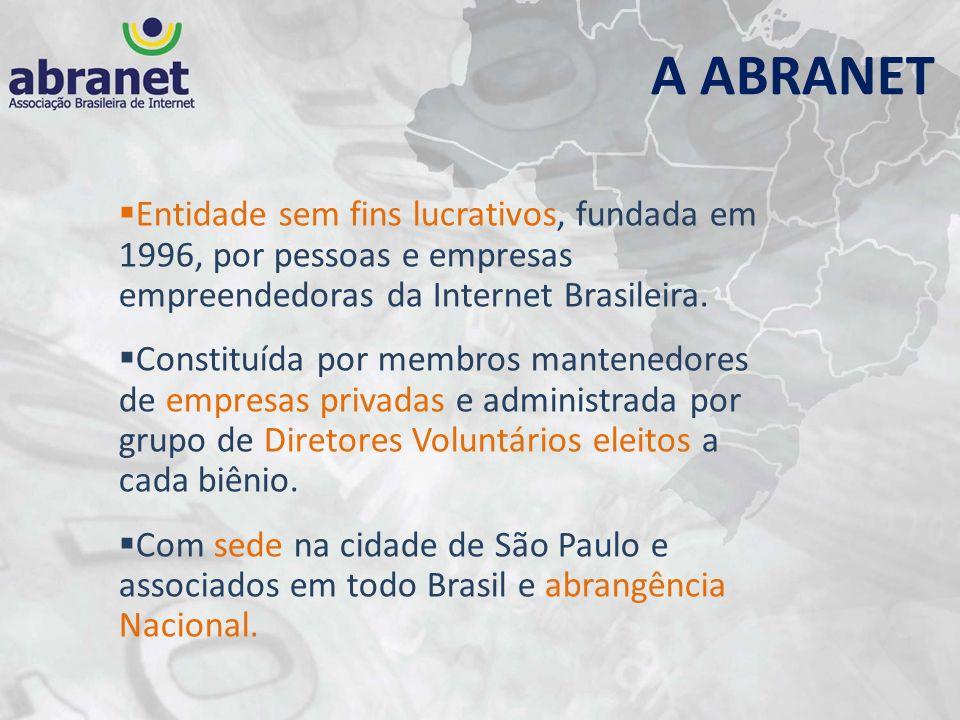 A ABRANET Entidade sem fins lucrativos, fundada em 1996, por pessoas e empresas empreendedoras da Internet Brasileira.