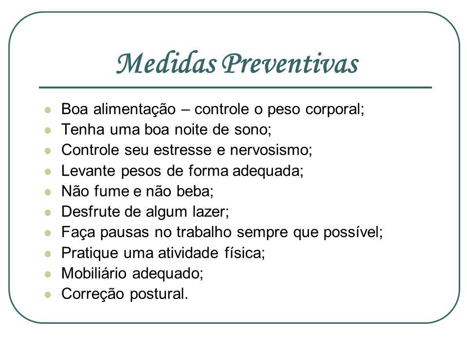 Medidas Preventivas Boa alimentação – controle o peso corporal;