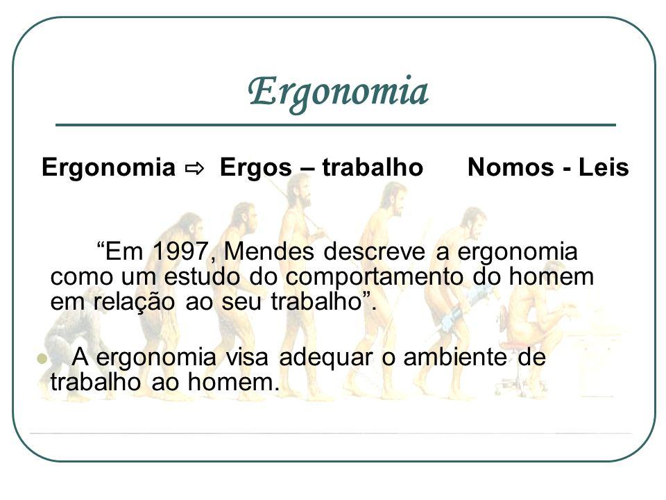 Ergonomia ⇨ Ergos – trabalho Nomos - Leis