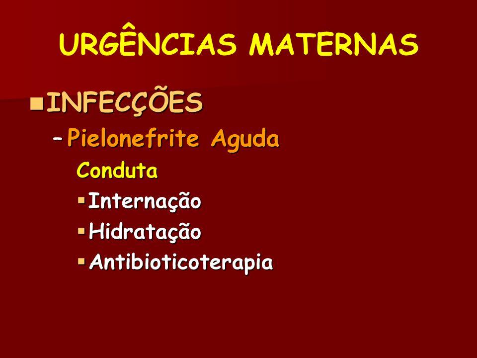 URGÊNCIAS MATERNAS INFECÇÕES Pielonefrite Aguda Conduta Internação