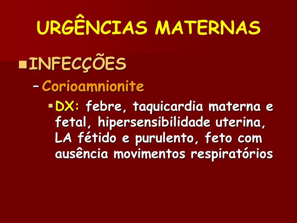 URGÊNCIAS MATERNAS INFECÇÕES Corioamnionite