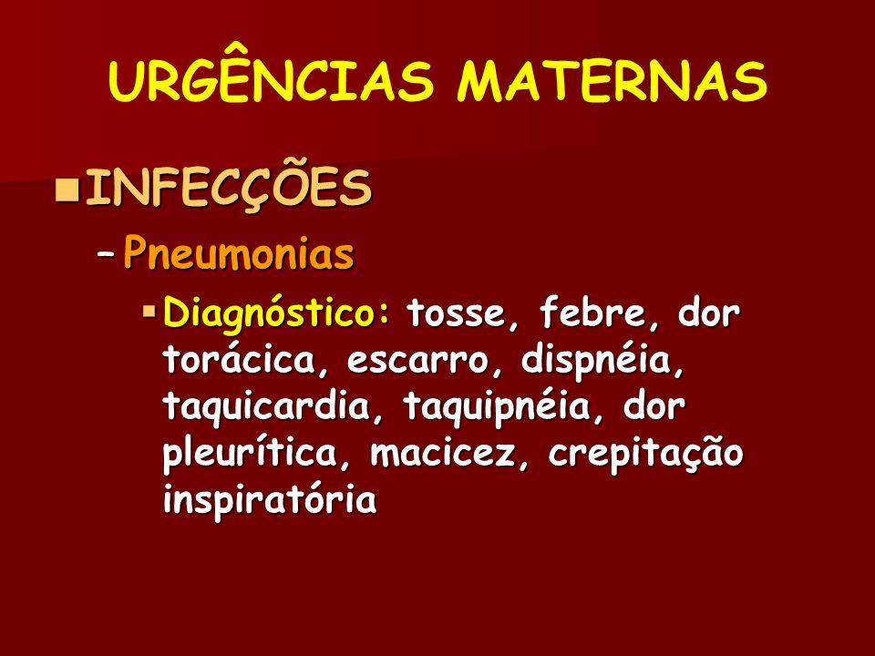 URGÊNCIAS MATERNAS INFECÇÕES Pneumonias