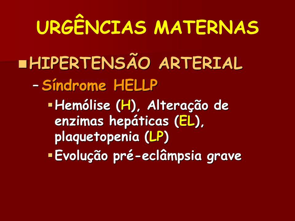 URGÊNCIAS MATERNAS HIPERTENSÃO ARTERIAL Síndrome HELLP