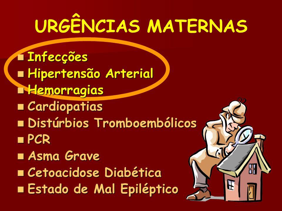 URGÊNCIAS MATERNAS Infecções Hipertensão Arterial Hemorragias