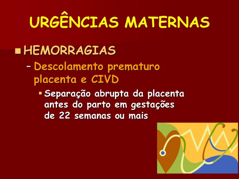URGÊNCIAS MATERNAS HEMORRAGIAS Descolamento prematuro placenta e CIVD