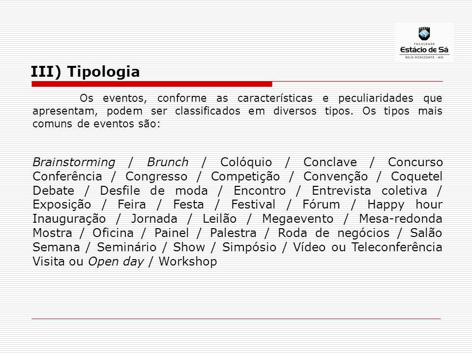 III) Tipologia