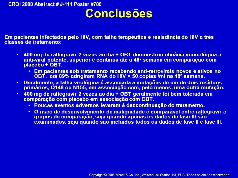 Conclusões Em pacientes infectados pelo HIV, com falha terapêutica e resistência do HIV a três classes de tratamento: