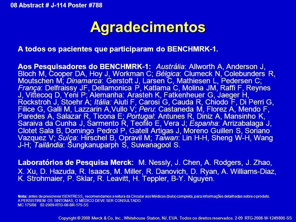Agradecimentos A todos os pacientes que participaram do BENCHMRK-1.