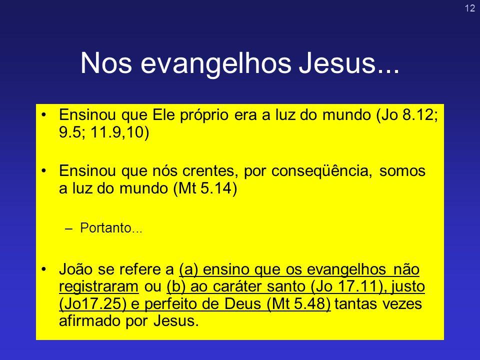Nos evangelhos Jesus... Ensinou que Ele próprio era a luz do mundo (Jo 8.12; 9.5; 11.9,10)