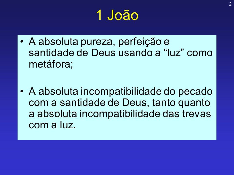 1 João A absoluta pureza, perfeição e santidade de Deus usando a luz como metáfora;