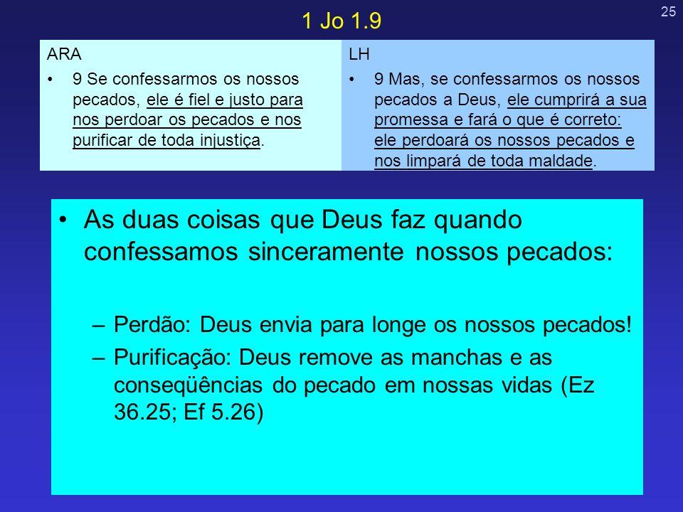 1 Jo 1.9 ARA. 9 Se confessarmos os nossos pecados, ele é fiel e justo para nos perdoar os pecados e nos purificar de toda injustiça.