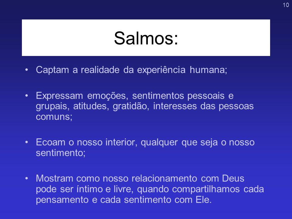 Salmos: Captam a realidade da experiência humana;