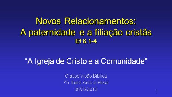 Novos Relacionamentos: A paternidade e a filiação cristãs Ef 6.1-4