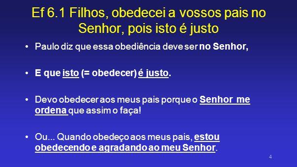 Ef 6.1 Filhos, obedecei a vossos pais no Senhor, pois isto é justo