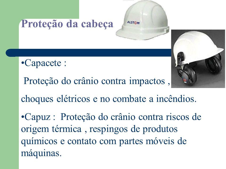 Proteção da cabeça Capacete : Proteção do crânio contra impactos ,