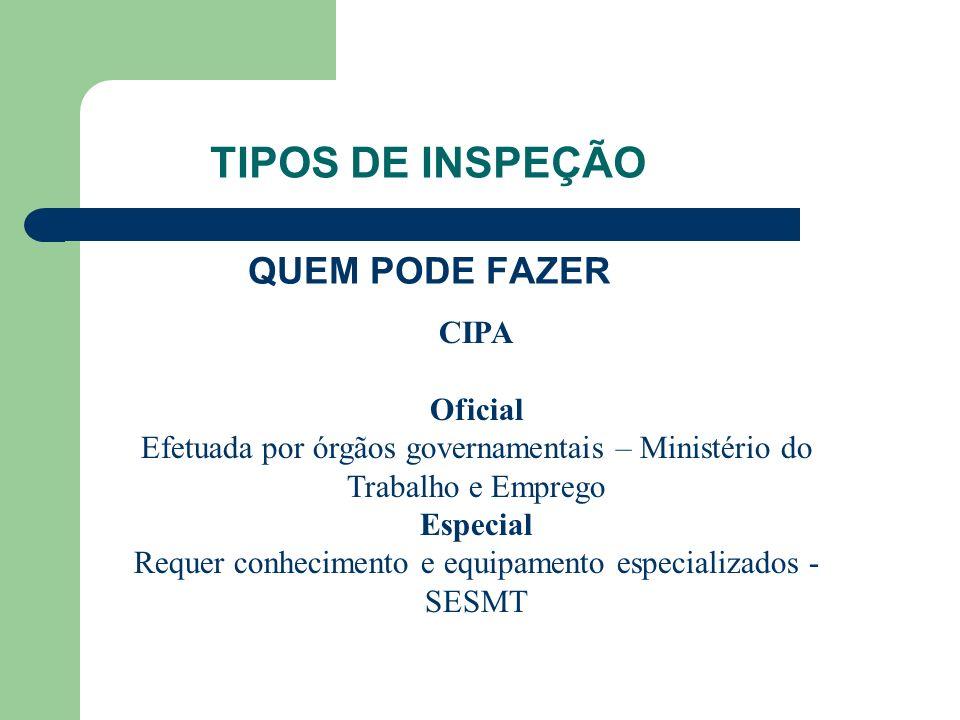 TIPOS DE INSPEÇÃO QUEM PODE FAZER CIPA Oficial