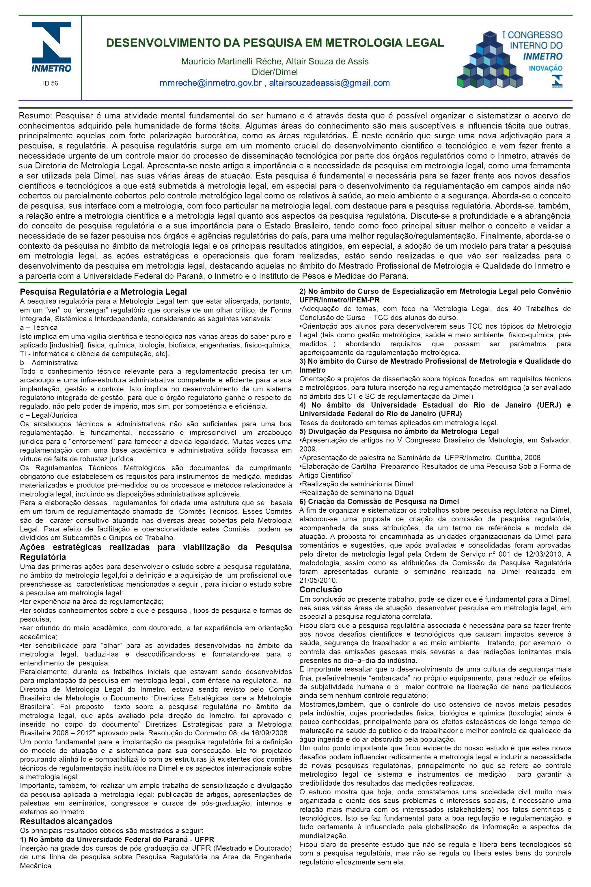 DESENVOLVIMENTO DA PESQUISA EM METROLOGIA LEGAL