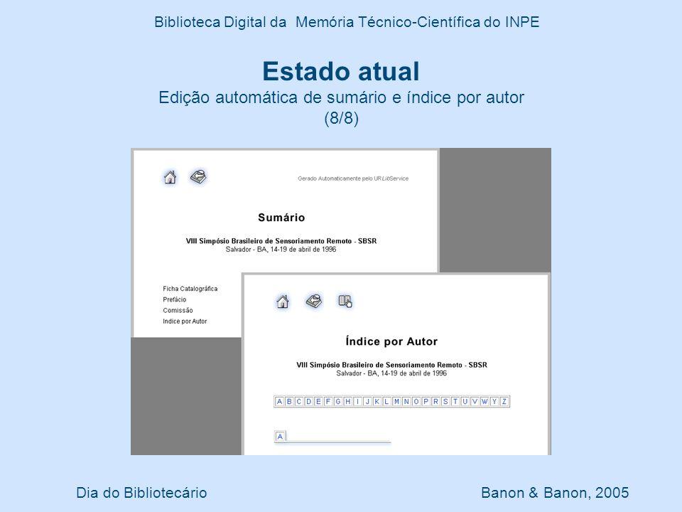 Estado atual Edição automática de sumário e índice por autor (8/8)