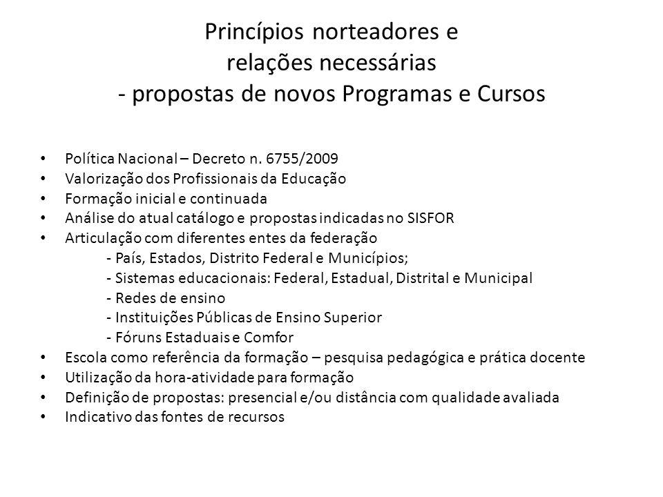 Princípios norteadores e relações necessárias - propostas de novos Programas e Cursos