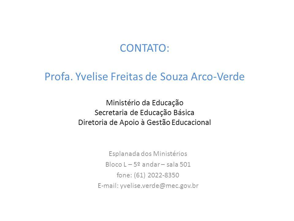 CONTATO: Profa. Yvelise Freitas de Souza Arco-Verde Ministério da Educação Secretaria de Educação Básica Diretoria de Apoio à Gestão Educacional