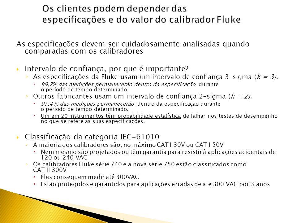 Os clientes podem depender das especificações e do valor do calibrador Fluke