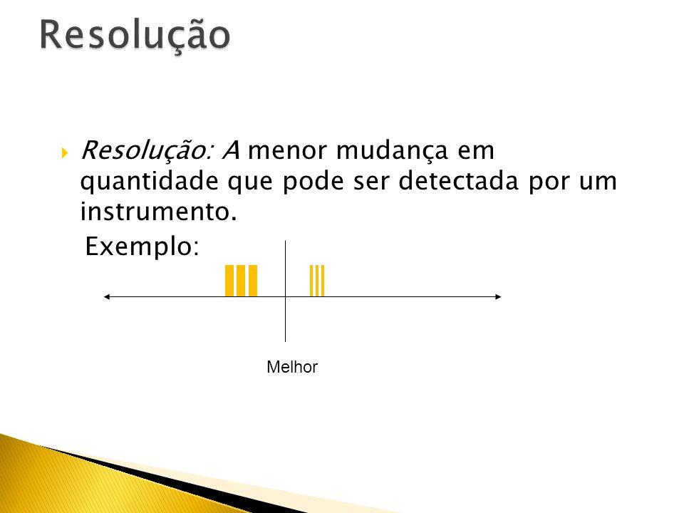 Resolução Resolução: A menor mudança em quantidade que pode ser detectada por um instrumento. Exemplo: