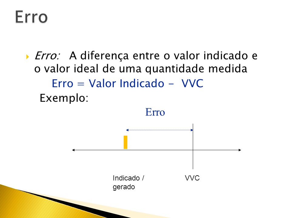Erro Erro: A diferença entre o valor indicado e o valor ideal de uma quantidade medida. Erro = Valor Indicado - VVC.