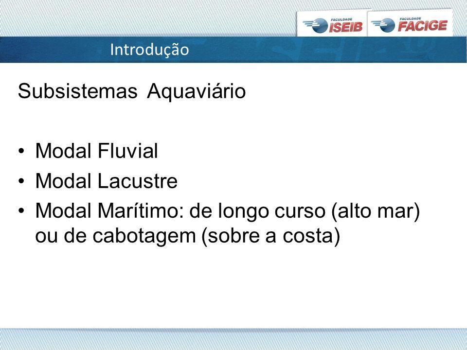 Subsistemas Aquaviário Modal Fluvial Modal Lacustre