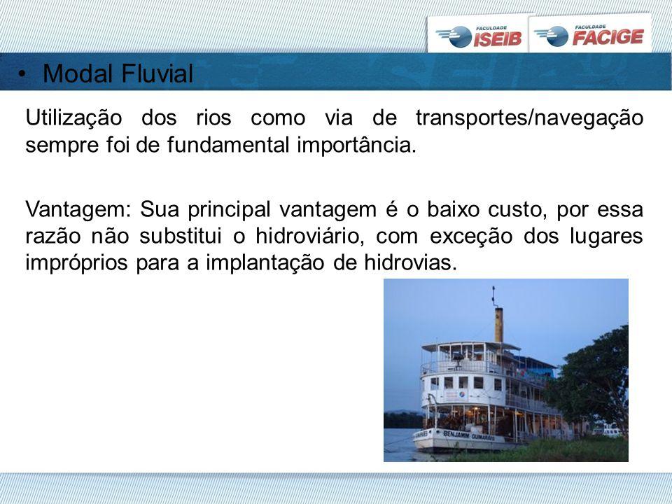 Modal Fluvial Utilização dos rios como via de transportes/navegação sempre foi de fundamental importância.