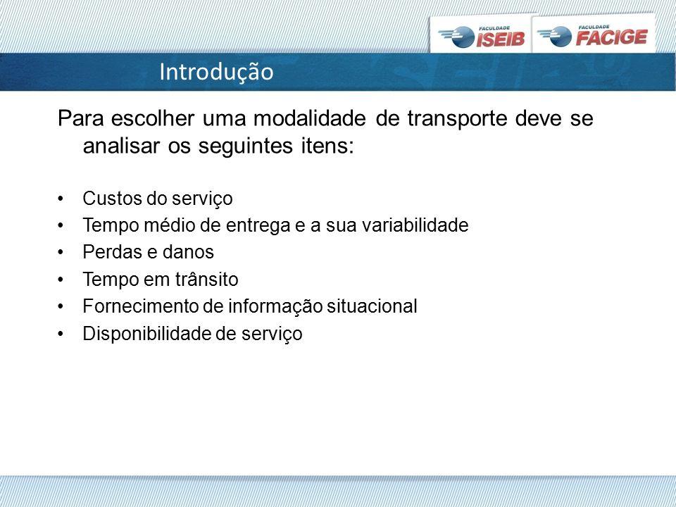 Introdução Para escolher uma modalidade de transporte deve se analisar os seguintes itens: Custos do serviço.